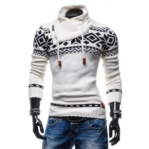 Pánsky biely sveter s čiernym vzorom a golierom