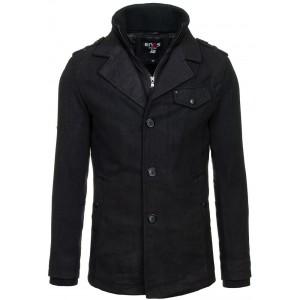 Pánsky kabát čiernej farby na zips s gombíkmi