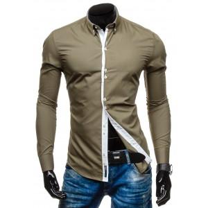 Pánska khaki košeľa s dlhým rukávom