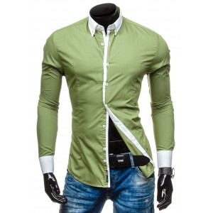 Pánska zelená košeľa s bielym lemovaním