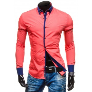 Pánska červená košeľa s modrým lemovaním
