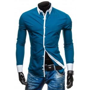 Pánska modrá košeľa s bielym lemovaním
