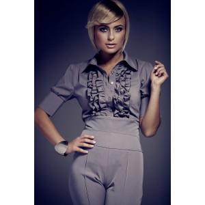Elegantná košeľa s krátkym rukávom sivej farby
