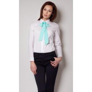 Elegantná košeľa bielej farby s tyrkysovou mašľou