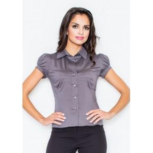 Sivá dámska košeľa s krátkym rukávom
