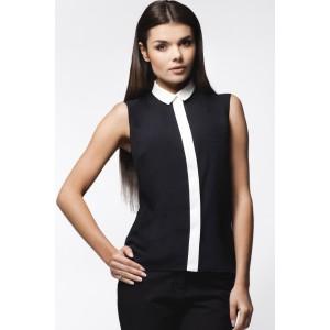 Dámska čierna košeľa s bielym golierom