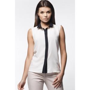 Dámska biela košeľa s čiernym golierom