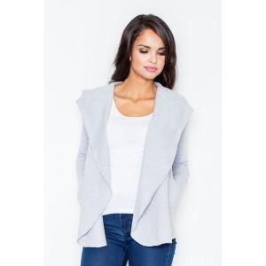 Dámsky sveter sivej farby s kapucňou