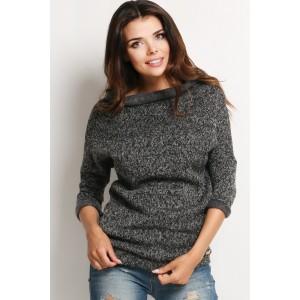 Dámsky upletový sveter tmavo sivej farby