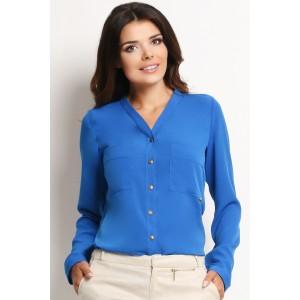 Formálna dámska volnejšia košeľa modrej farby