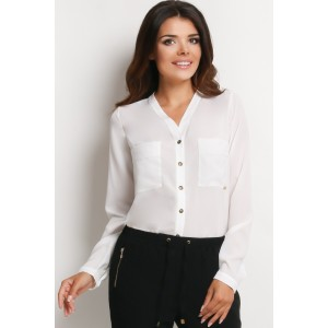 Spoločenska biela košeľa pre dámy s gombíkmi