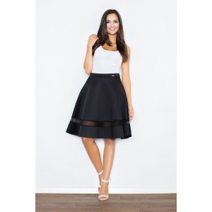 Dámska čierna sukňa s priesvitným pruhom