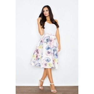 Dámska biela sukňa s farebnými kvietkami