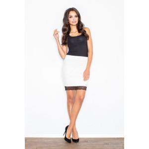 Biele dámske sukne s čiernym  čipkovým lemovaním