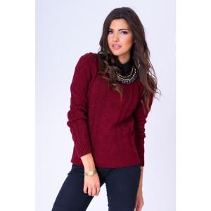 Bordový dámsky pletený sveter