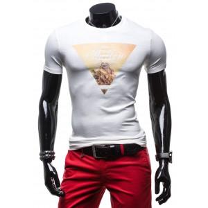 Moderné biele pánske tričko s oranžovou potlačou