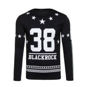 Štýlové pánske tričko čiernej farby s motívom hviezd