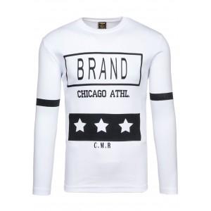 Pánske tričko bielej farby s nápisom BRAND