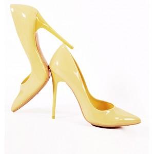 Žlté dámske lodičky s ostrou špičkou