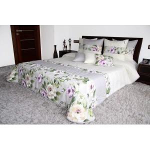Biely prehoz na posteľ so sivým pásom a potlačou kvetov