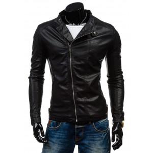 Pánska kožená bunda v čiernej farbe so zipsom