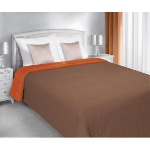 Obojstranný prešívaný prehoz oranžovo hnedej farby