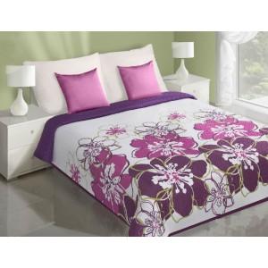 Bielo fialový prehoz na posteľ s potlačou veľkých fialových kvetov