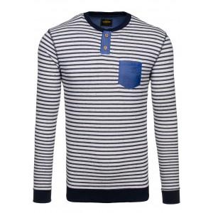 Pásikavý pánsky sveter s modrým vreckom a čiernym lémovaním