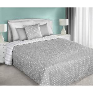 Sivo biely obojstranný prehoz na posteľ s motívom bodiek