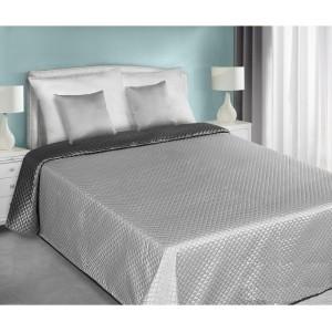 Obojstranný prehoz na posteľ strieborno sivej farby