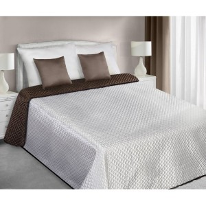Prehoz na posteľ ecru hnedej farby obojstranný