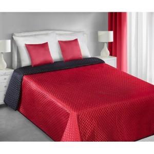 Červeno čierny obojstranný saténový prehoz na posteľ