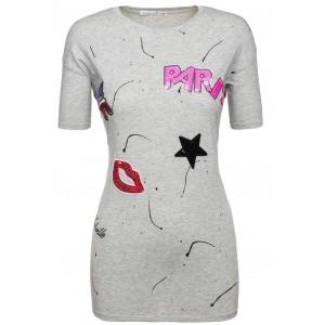Letné dámske tričká sivej farby s motívom Paris