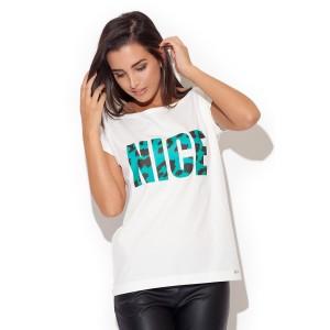 Dámske letné tričko bielej farby s army nápisom NICE