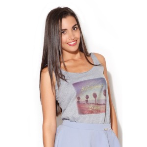 Sivé dámske tričko bez rukávov s nápisom summer time