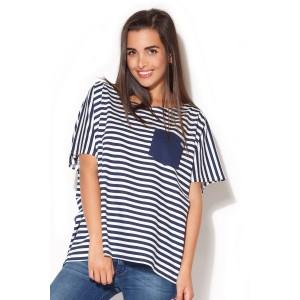 Moderné dámske tričko biele s modrými pásikmi