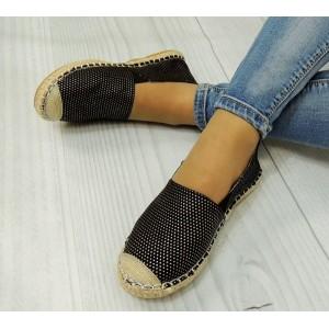 Dámska obuv čierne espadrilky s bielymi bodkami