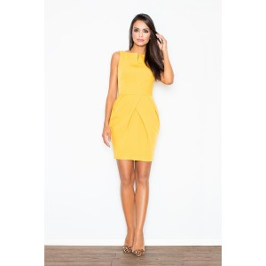 Letné koktejlové puzdrové šaty v žltej farbe nad kolená