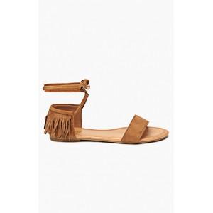 Trendy dámske sandále hnedej farby s viazaním okolo nohy
