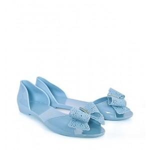 Štýlové dámske balerínky v modrej farbe s otvorenou špičkou