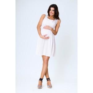 Ecru tehotenské šaty na leto s ramienkami