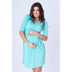 Letné tehotenské šaty mätovej farby s dlhým rukávom