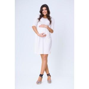 Ecru tehotenské šaty po kolená na leto
