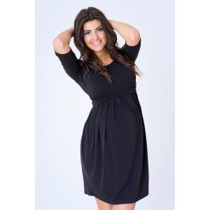 Tehotenské večerné šaty v čiernej farbe s dlhým rukávom