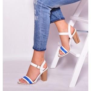 Sandále na vysokom opätku bielo modrej farby s otvorenou špičkou