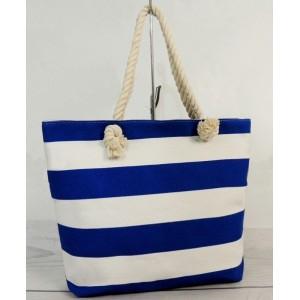 Letná plážová taška s modro bielymi pruhmi