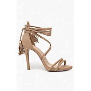 Štýlové dámske sandále na vysokom podpätku v hnedej farbe