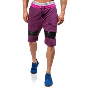 Krátke pánske teplákové nohavice v bordovej farbe