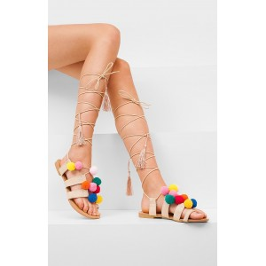 Letne béžové sandále pre dámy s ozdobou