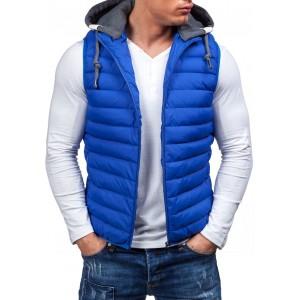 Modrá pánska vesta bez rukávov s kapucňou